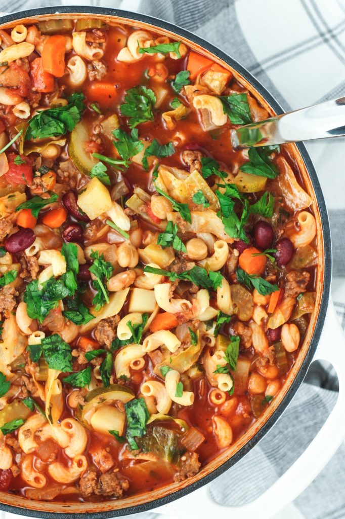 A pot of homemade minestrone soup