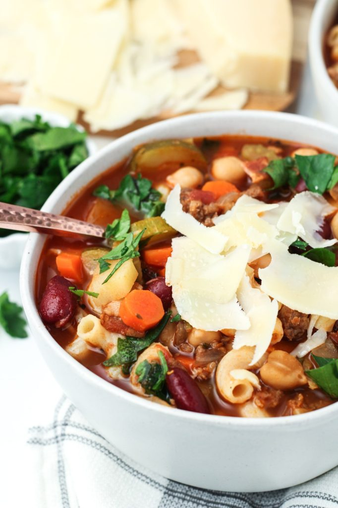 A bowl of homemade minestrone soup