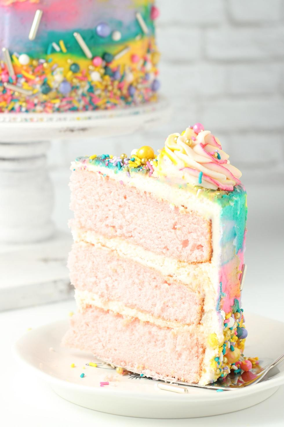 slice of pink lemonade cake
