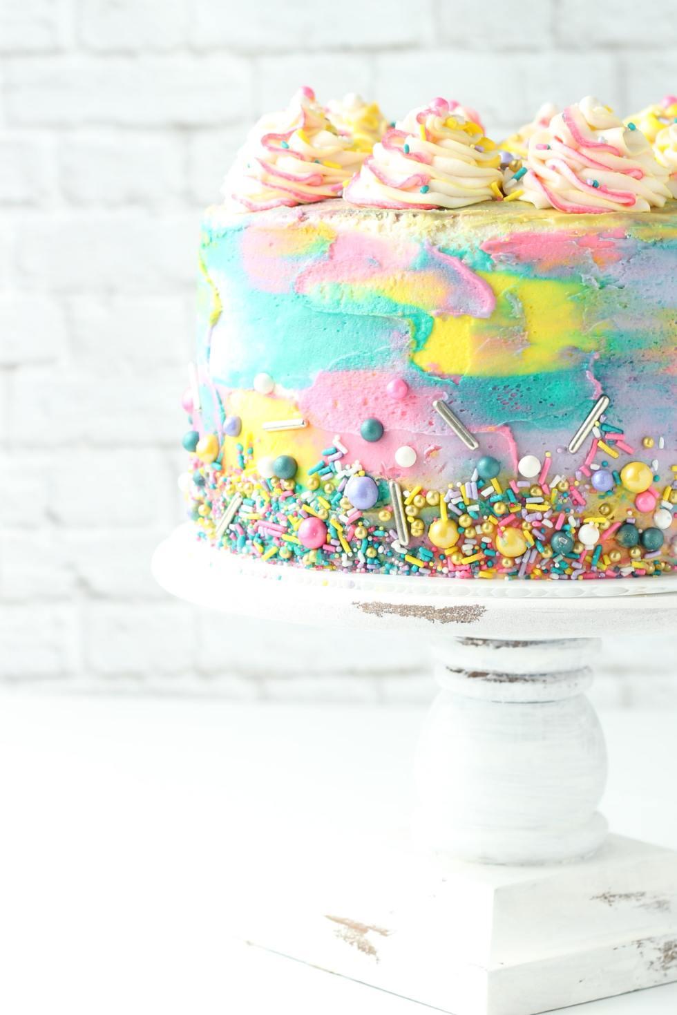 Pink Lemonade Cake with sprinkles