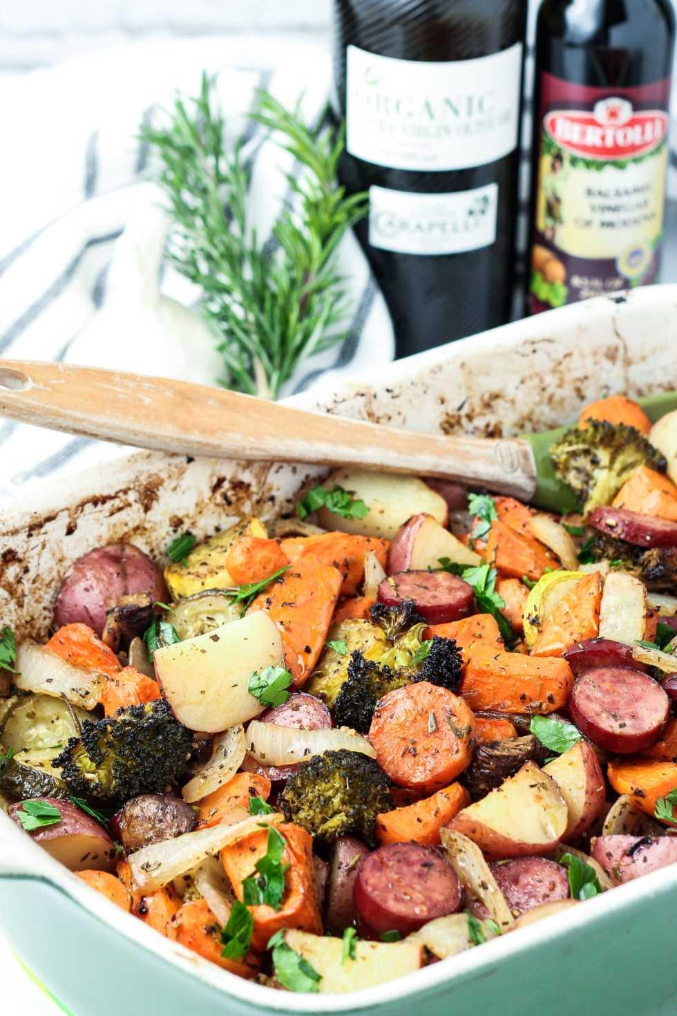 Roasted veggies in a baking dish