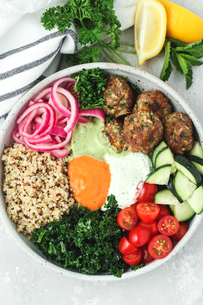 mediterranean buddha bowls with turkey meatballs