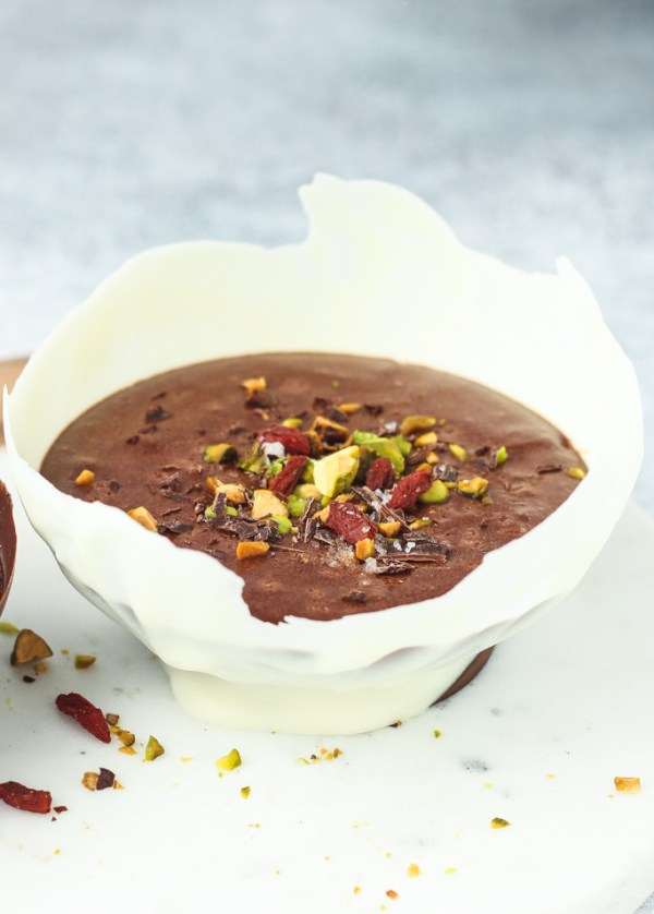 Decadently rich Mexican Dark Chocolate Mousse with pistachios and sea salt