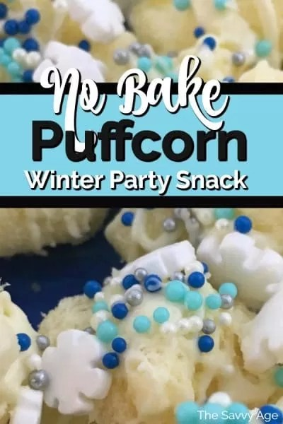 White puffcorn drizzled with white chocolate and winter theme edible sprinkles: white snowflake, silver jimmies, blue dots.