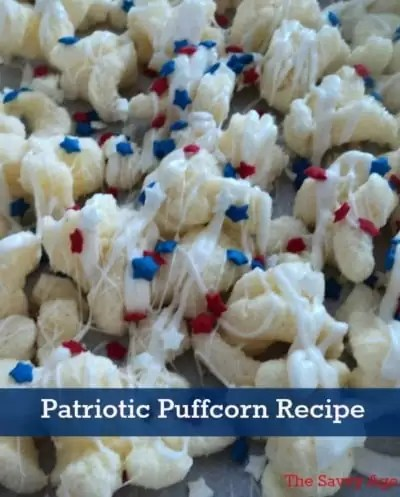 Puffcorn decorated with red, white and blue sprinkles.