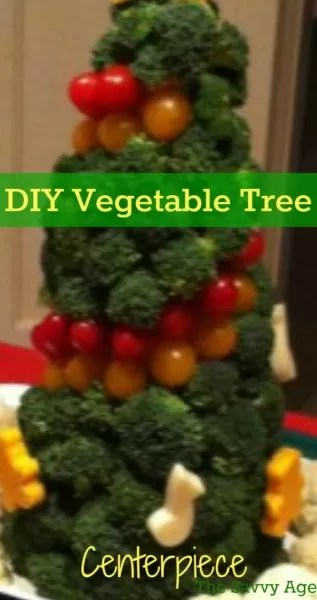 Great way to use your vegetables for a DIY edible Vegetable centerpiece. Learn how to make this yummy tree!