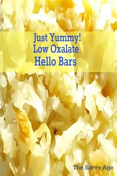 Close up of the top of low oxalate Hello Bars.