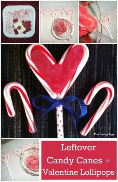 Use those leftover candy canes to make DIY Valentine Lollipops.