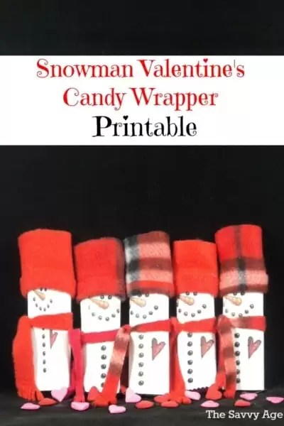 DIY Snowman Valentine's Candy Wrapper Printable. Easy to make for all ages as a Valentine's Day treat.