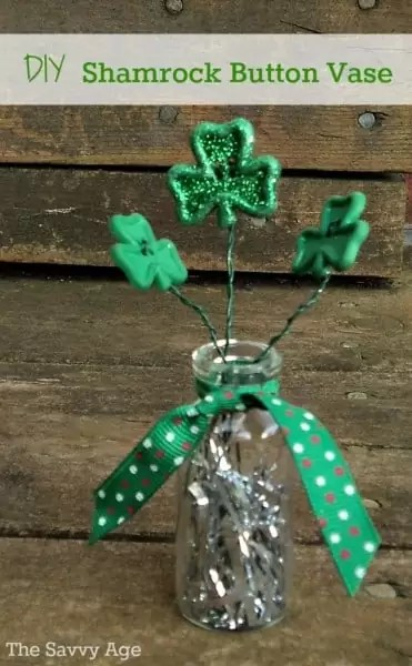 Shamrock Button Vase made with a small vial and button flowers with stems.