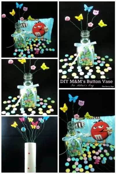 Easy DIY M&M's Button Vase! Use your craft stash and the Dollar Store to make this cute whimsical gift!