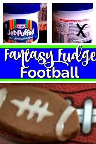 Fudge shapped football with white frosting stripes. Jar of marshmallow creme with recipe on back.