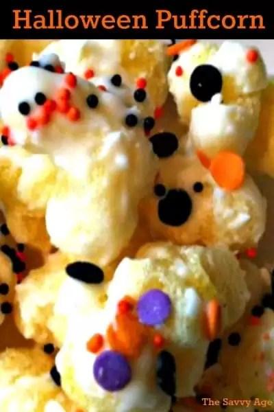 Halloween puffcorn kernels.