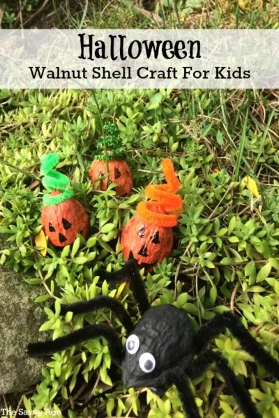 Boo! Halloween Walnut Shell Craft For Kids.
