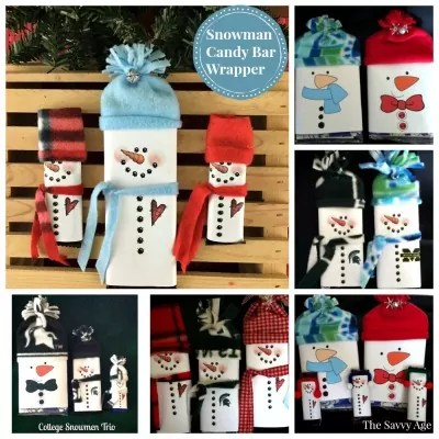 Snowman Popcorn Wrapper and Snowman Candy Bar Wrapper Christmas Stocking Stuffers