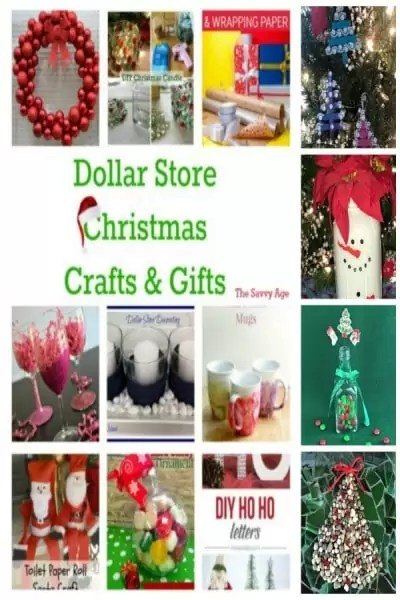 Collage of dollar store Christmas crafts and gifts.