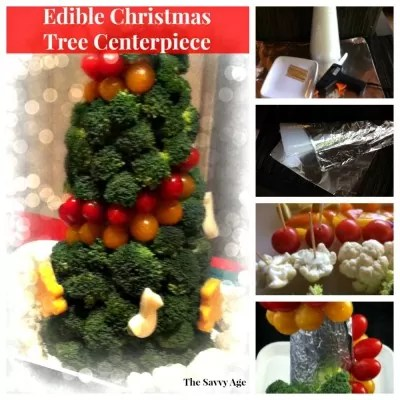 Edible Christmas centerpiece, materials and vegetables.