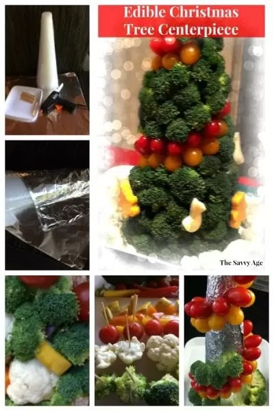 Edible Christmas tree centerpiece made of vegetables.