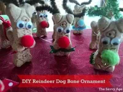 Fun DIY Reindeer craft with dog bones. Make a quirky and cute Reindeer ornament from dog bones!