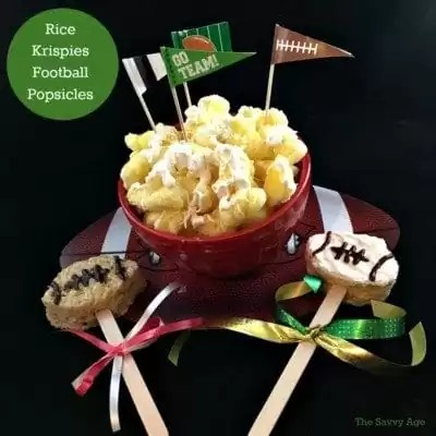 Easy Rice Krispies Football Popsicle DIY. Fun craft for kids and no bake treat!
