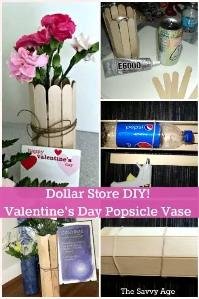 Dollar Store DIY! Easy Valentine's Day Popsicle Stick Vase for your favorite valentine!