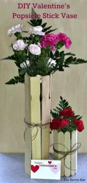 Dollar Store DIY! Easy Valentine's Day Popsicle Stick Vase for your favorite valentine!