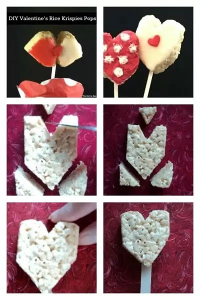 Heart shaped Rice Krispies Lollipops.
