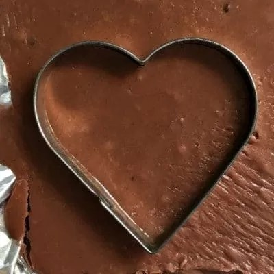 Fudge heart cut with cookie cutter.