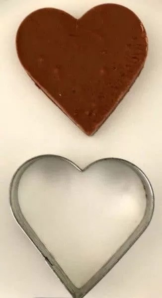 Fudge heart and heart cookie cutter.