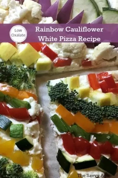 Low oxalate cauliflower white pizza recipe is easy to make and a pefect way to use your low oxlate vegetables! Healthy pizza recipe is a fun addition to your low oxalate meal plan.