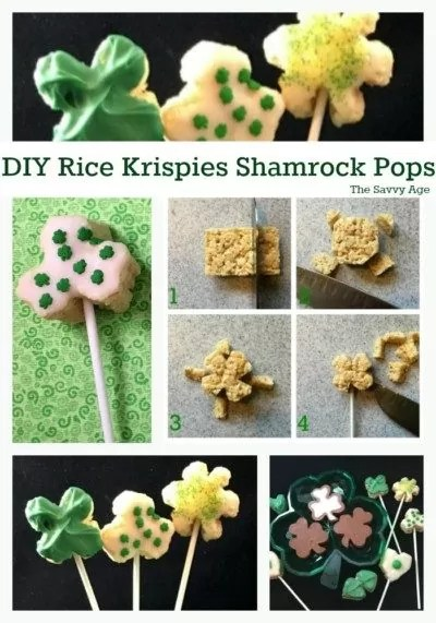 Collage of green and white Rice Krispies Shamrock Pops for St. Patrick's Day.