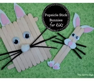 Easter Popsicle Stick Bunnies For Kids