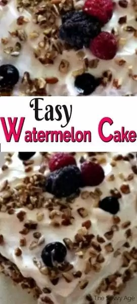 Watermelon cake with white frosting and berries on top.