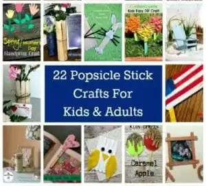 collage of popsicle stick craft projects