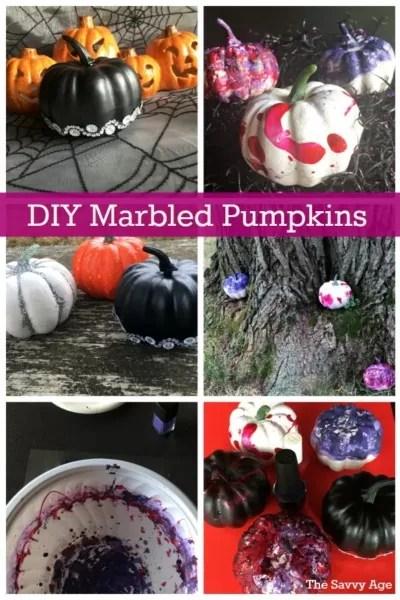 Collage marbled pumpkins