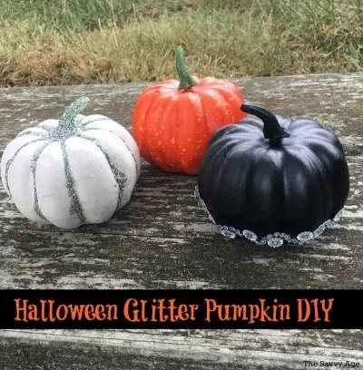 Halloween Glitter Painted Pumpkin