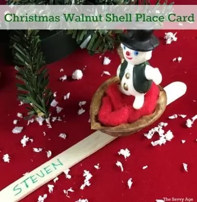 DIY Christmas Walnut Shell Place Card