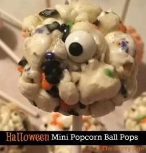 Halloween Mini Popcorn Ball Pops
