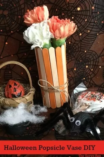 Halloween popsicle stick vase, walnut shell spider, walnut shell pumpkin.