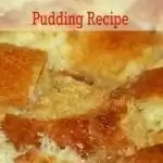 Slice of bread pudding on a plate.