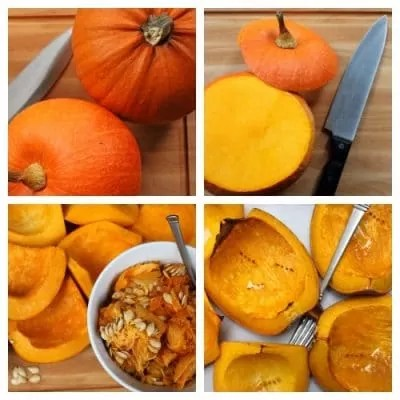Graphic steps to make pumpkin puree