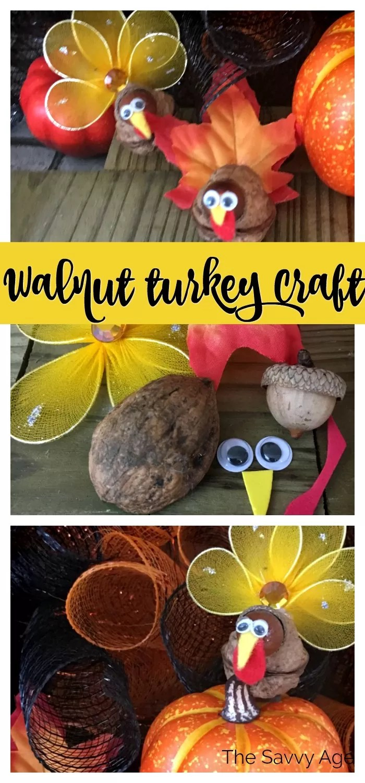 Collage of materials for walnut turkey: acorn, walnut, felt, googly eyes.