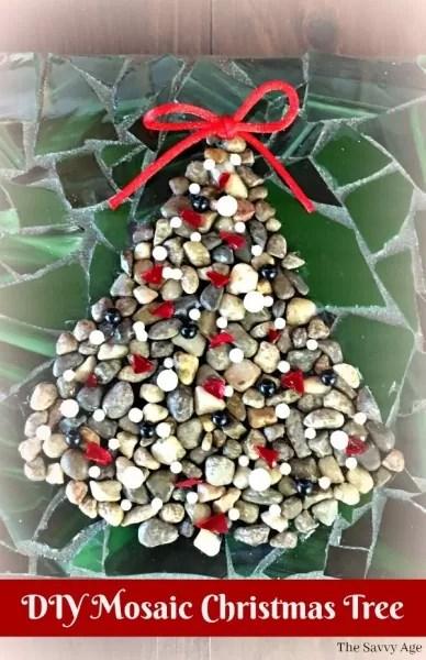 Mosaic Christmas Tree made of pebbles.