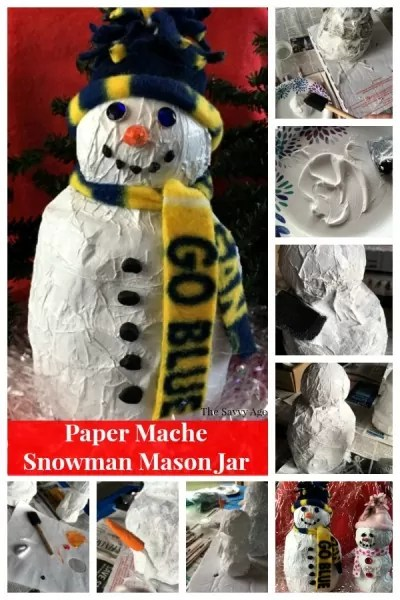 How to make paper mache snowman collage.