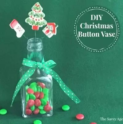 DIY Christmas Button Vase (with M & M's!)