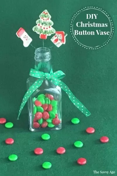 Christmas Vase with button flowers.
