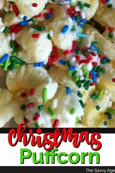 Christmas puffcorn decorated with red, green sprinkles.