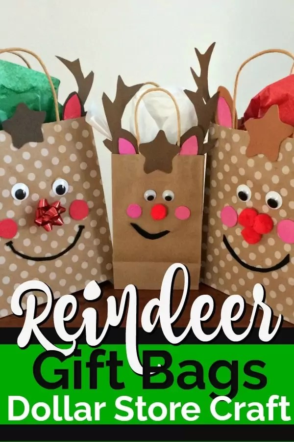 Three gift bags decorated with reindeer faces.