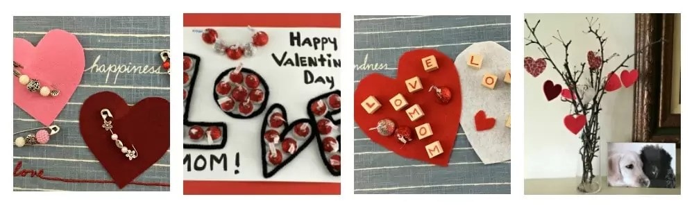 4 images Dollar Store Valentine's Day crafts: cards for kids from hershey kisses and wood blocks spelling I love mom, heart tree, heart pin from safety pins.