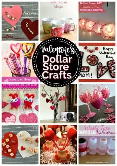 Collage of Valentine's Day Dollar Store Crafts.